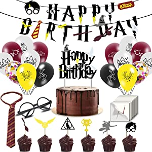 Col-party Wizard Glasses and Tattoos, Cake and Cupcake Toppers, Pre-assembly Wizard Happy Birthday Banner, Wizard Tie and Balloons for Wizard Party Supplies Decorations; 90 Pcs in All
