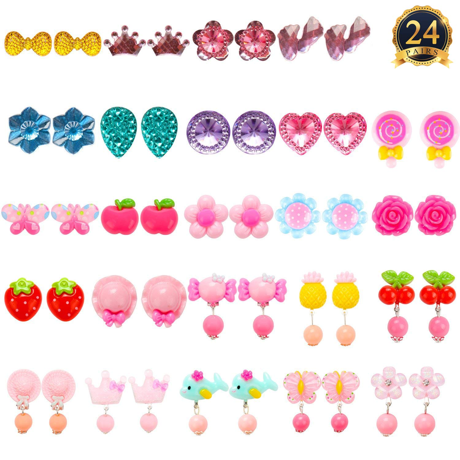 HaiMay 24 Pairs Clip-on Earrings Girls Play Earrings Party Favor, All Packed in 3 Clear Boxes