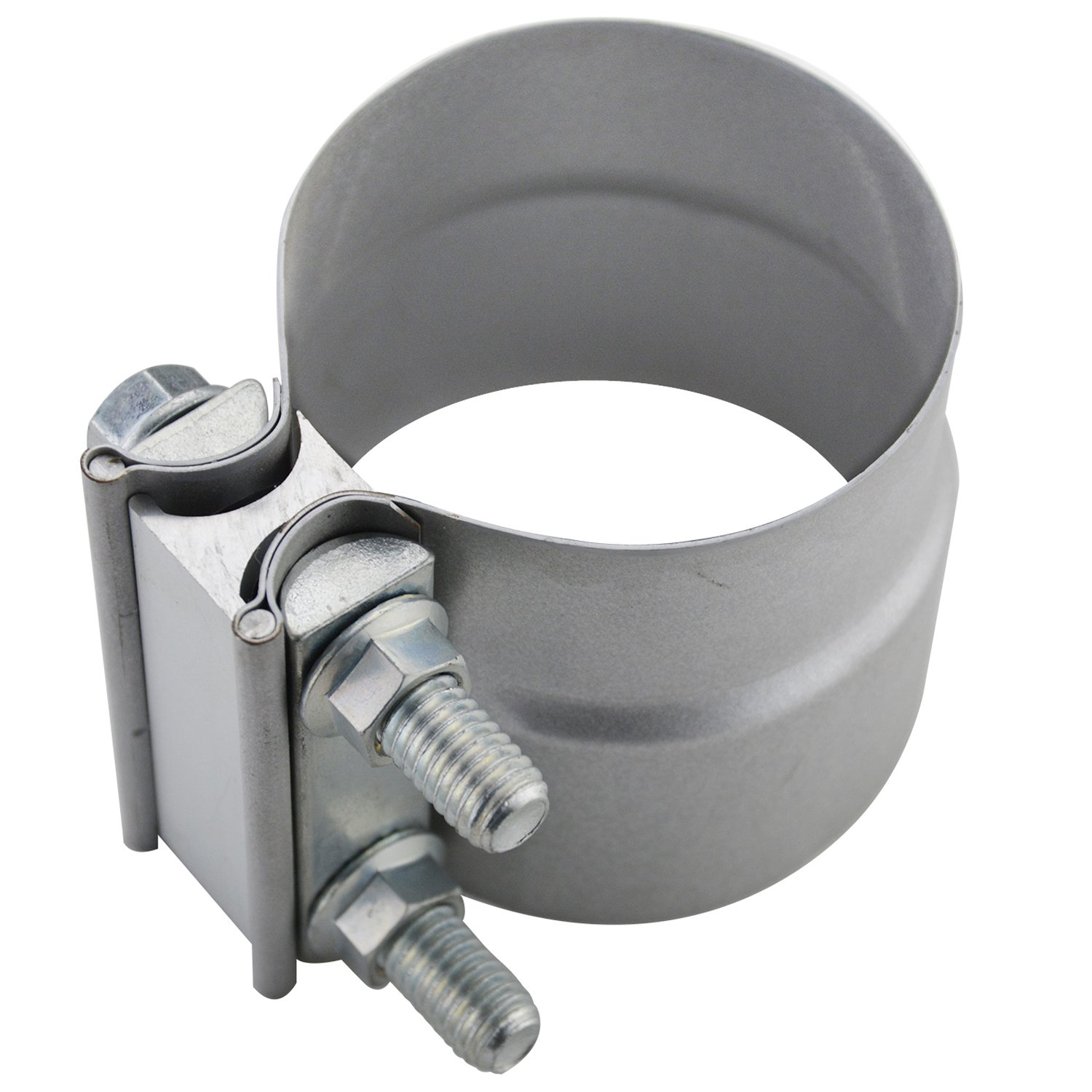 2.5 Lap Joint Exhaust Band Clamp - Preformed Aluminized Steel for 2.5 ID to 2.5 OD Exhaust Pipe Connection ROAD FORMER