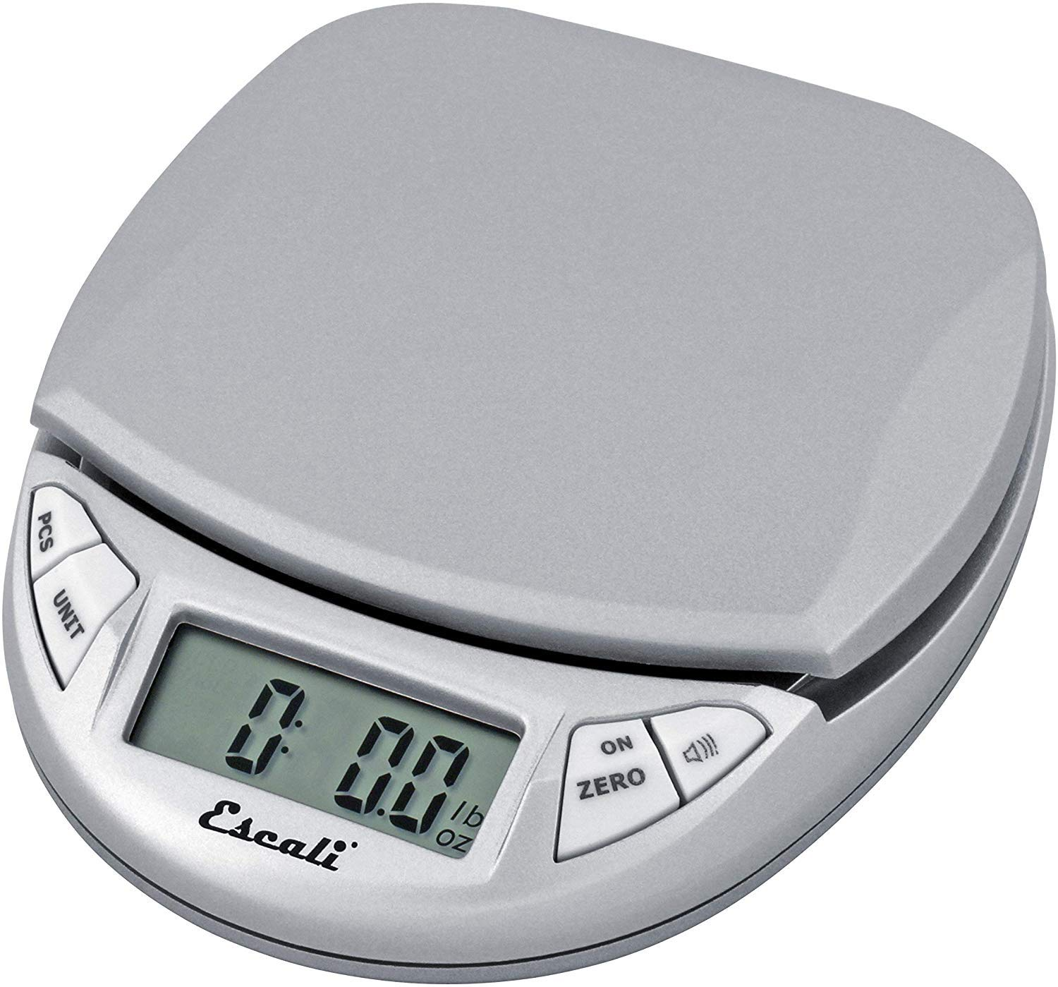 Escali Pico N115S Kitchen, Office Scale, Tare Functionality, Compact Design, LCD Digital Display, 11lb Capacity, Silver/Grey