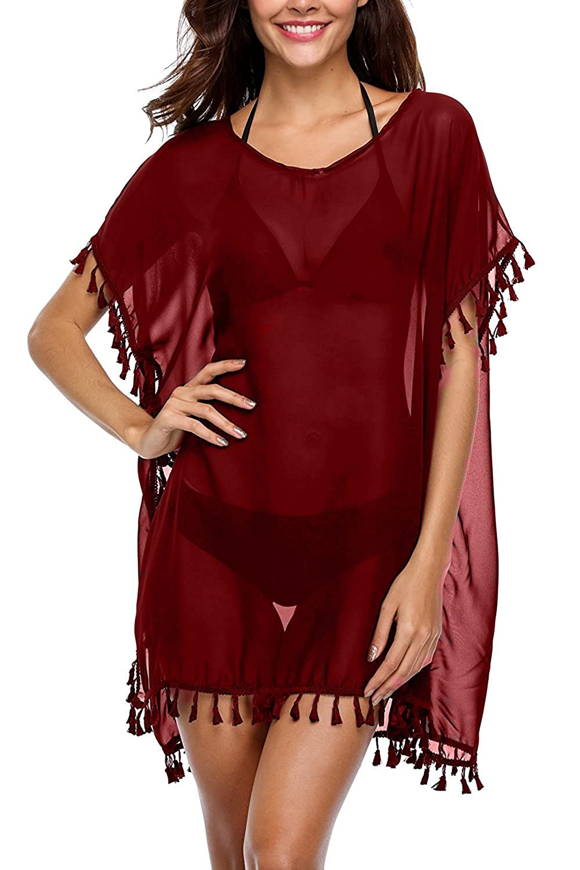 2 Red YIPWIN Women VNeck Lace Polyester Cover Ups Swimwear Beach Dresses Beachwear