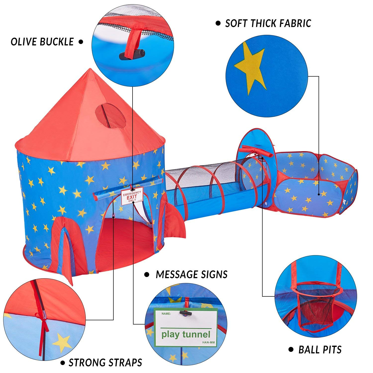 HAN-MM 3pc Play Tent Ball Pit with Tunnel Stars Glow in The Dark, Tunnel & Ball Pit Basketball Rocket Ship Astronaut Hoop Toys with Bonus Message Signs for Indoor Outdoor Camping by HAN-MM (Image #3)