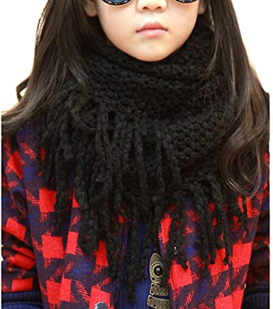 BEST Children wool scarf for winter soft wool long Neck Warmer infinity double-d