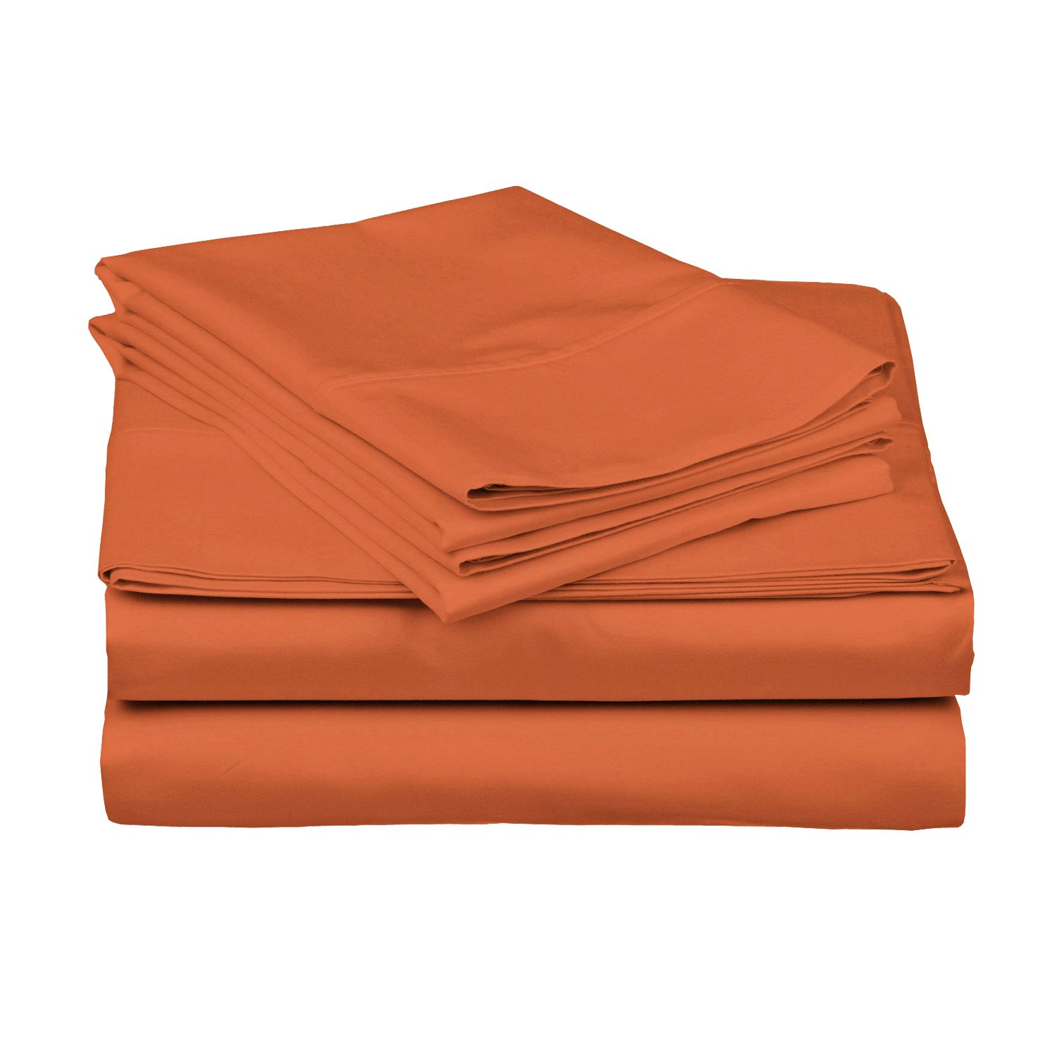 3 Piece Twin Pumpkin Bed Sheet Set, Ultra cozy, super soft, lightweight, durable, satiny smooth, Fully Elasticized, Sateen weave with 300 thread count, Dark Orange, Cotton