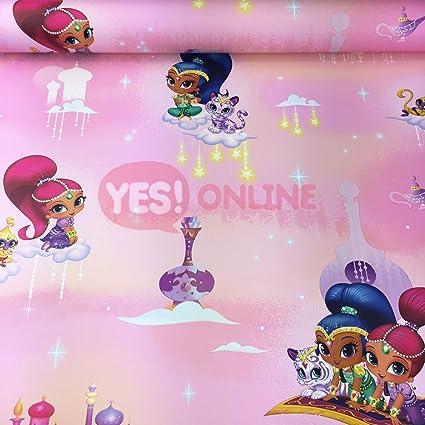 Shimmer Shine Wallpaper Princess Girls Bedroom Tiger Stars Temple Clouds Pink