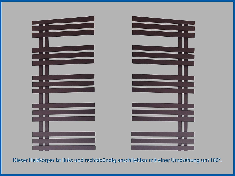 Designbadheizk/örper VERONA 1600 x 500 mm Anthrazit Schwarz Badheizk/örper Handtuchtrockner Handtuchw/ärmer