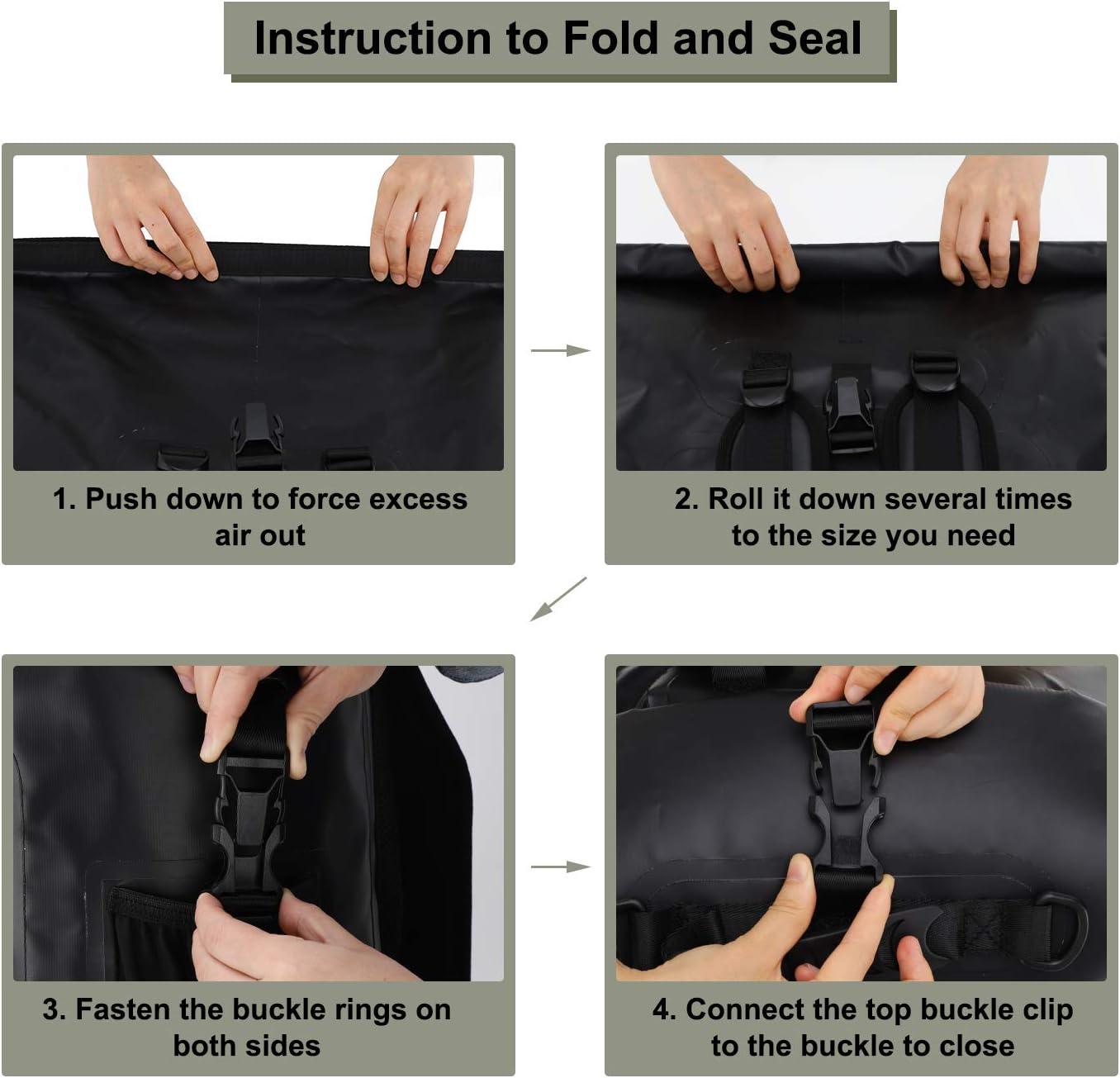 pesca surf kayak MIER Zaino impermeabile 100/% Dry Bag Roll Top Dry Bag 30L//40L Zaino galleggiante facile accesso per canottaggio nuoto campeggio