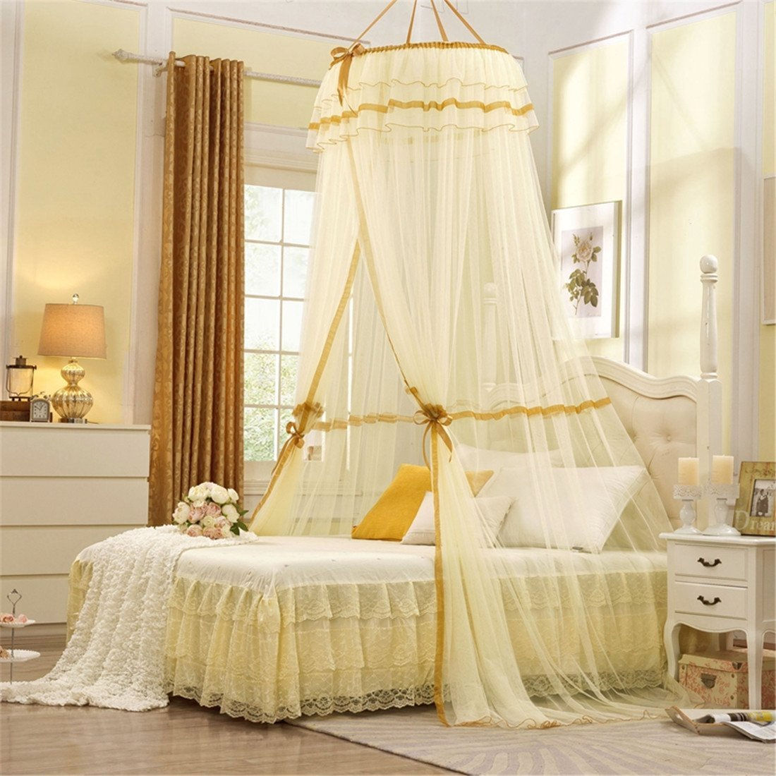 amazoncom round hoop princess pastoral lace bed canopy mosquito net fit crib twin full queen yellow home kitchen - Yellow Canopy Interior
