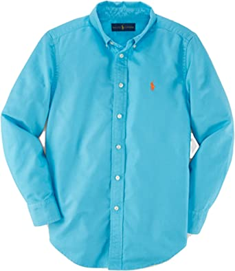 Ralph Lauren - Camisa Oxford de algodón para niños, Color Turquesa, Talla S 8