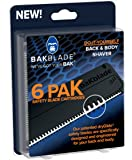 "BaKblade 2.0 - Back Hair & Body Shaver Refill Replacement Cartridges. 4"" Extra-Wide Wet or Dry Disposable Razor Blades (6-Pack)"