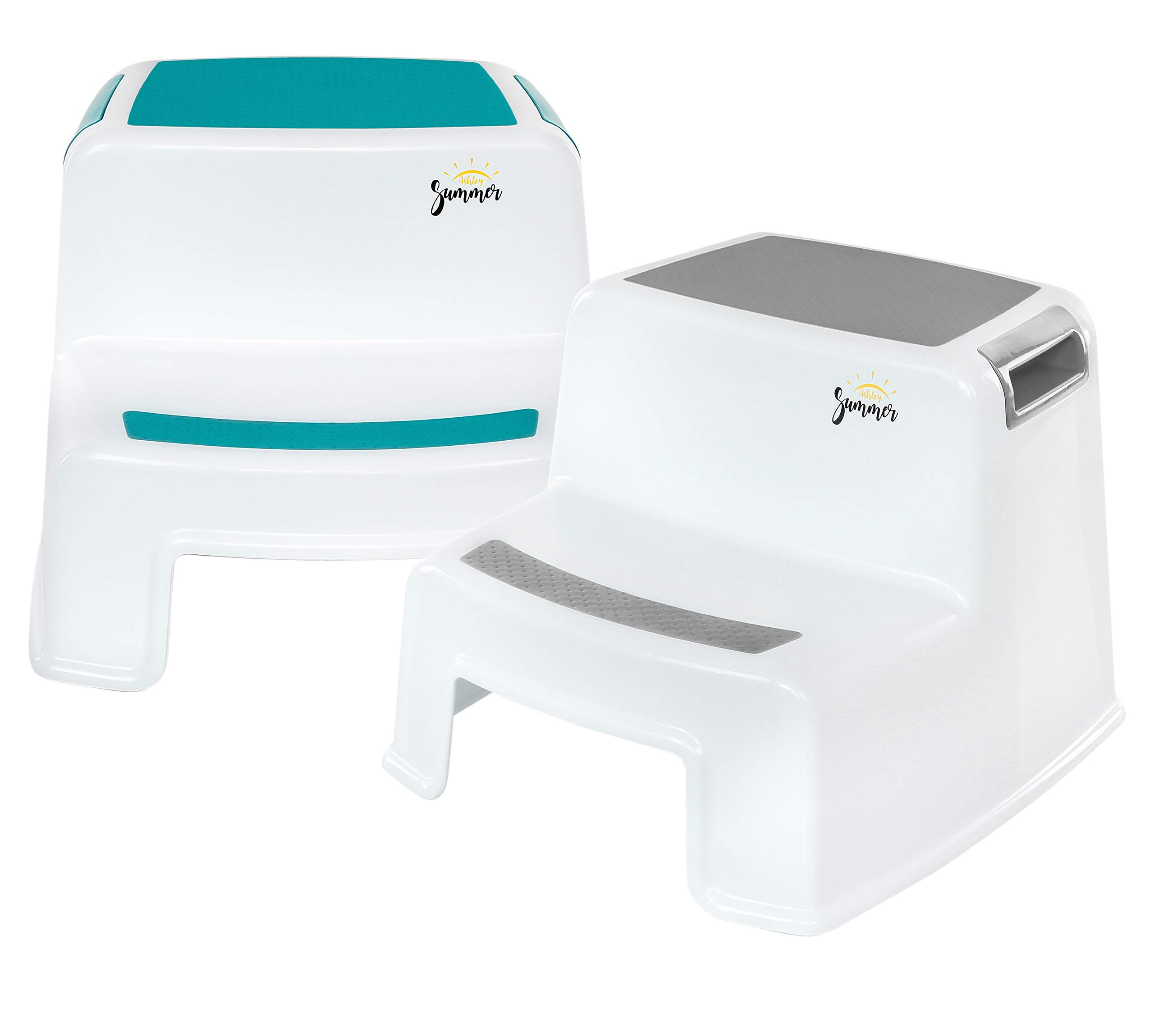 2 Step Stool for Kids (2 Pack)   Grey & Teal   Dual Height Toddler Step Stool for Potty Training & Kid Step Stool for Kitchen and Bathroom Sink   Slip Resistant Grip for Safety   by Ashley Summer by Ashley Summer
