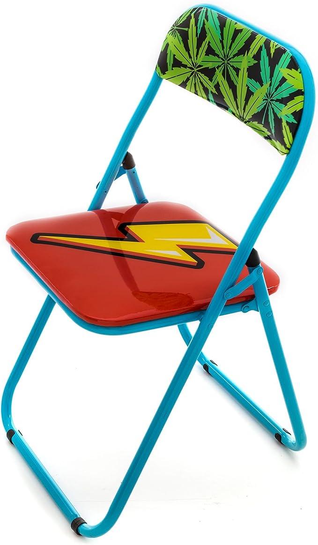 Seletti Blow Flash sedia pieghevole con decoro fulmine