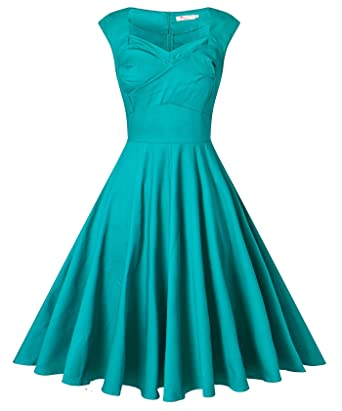 b6465ab3177b9 VOGVOG Women's 1950s Retro Vintage Cap Sleeve Party Swing Dress, Teal, Small