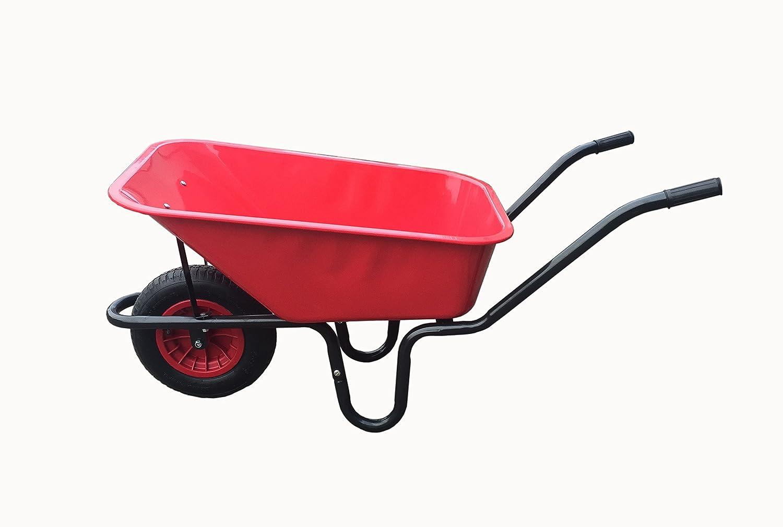 110L RED METAL PAN HEAVY DUTY WHEELBARROW 110 LITRE - 14' RED PNEUMATIC WHEEL KETO PLASTICS