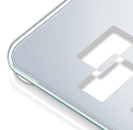 Beurer GS-420 - Báscula de baño de vidrio con función TARA, gran plataforma (32 x 32 cm) color gris: Amazon.es: Salud y cuidado personal