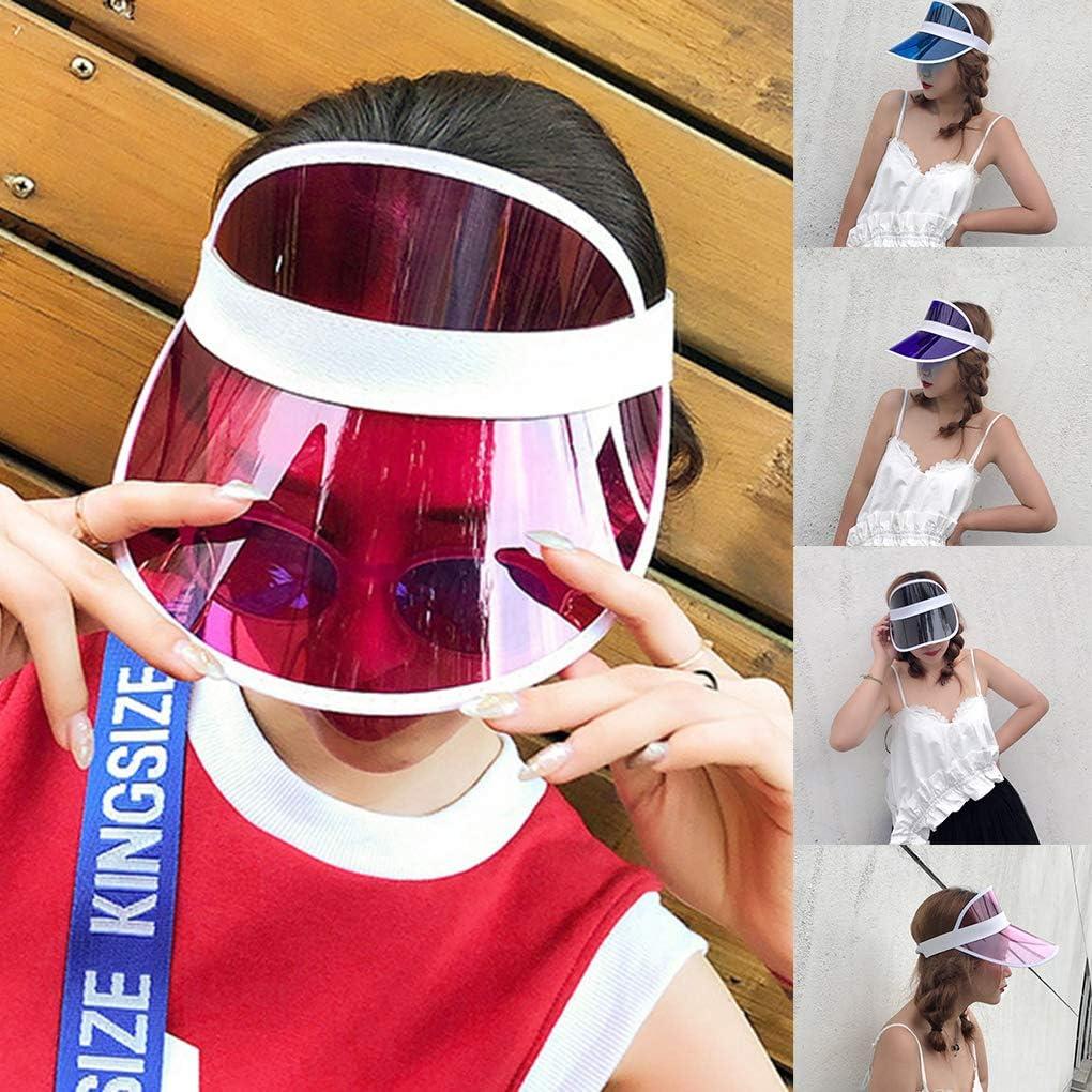Vkospy /Ét/é Unisexe Femmes Hommes Chapeau de Soleil Bonbons Couleur Transparent Vide Haut Plastique PVC Pare-Soleil Chapeau Visor Caps v/élo Sunhat