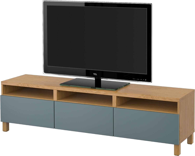 IKEA BESTA - Mueble TV con efectos cajones Roble / valviken gris-turquesa: Amazon.es: Hogar