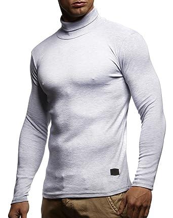 2b9d3e38eb0e LEIF NELSON Herren Rollkragenpullover Pullover Rollkragen Hoodie Slim Fit  (Grau  Small)