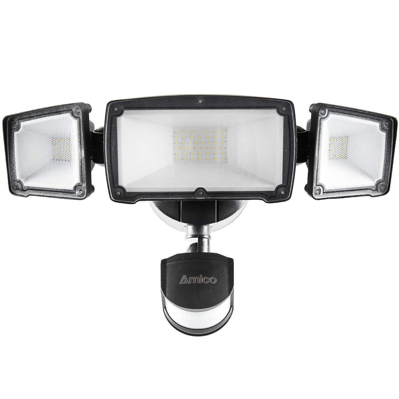 Amico 39W 3-Head LED Security Lights Motion Outdoor, 260W Equivalent Amico Outdoor Motion Sensor Light, 3500 Lumens, 6000K Daylight White, Waterproof IP65 & ETL, Motion-Activited Flood Light(Bronze)