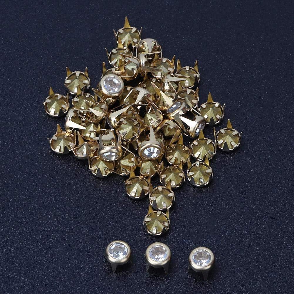 50 Set Silver//Gold Base DIY Fashion Rhinestone Claw Beads Nailhead Studs Punk Diamond Spikes Rivets for DIY Leather-Craft 6mm Gold
