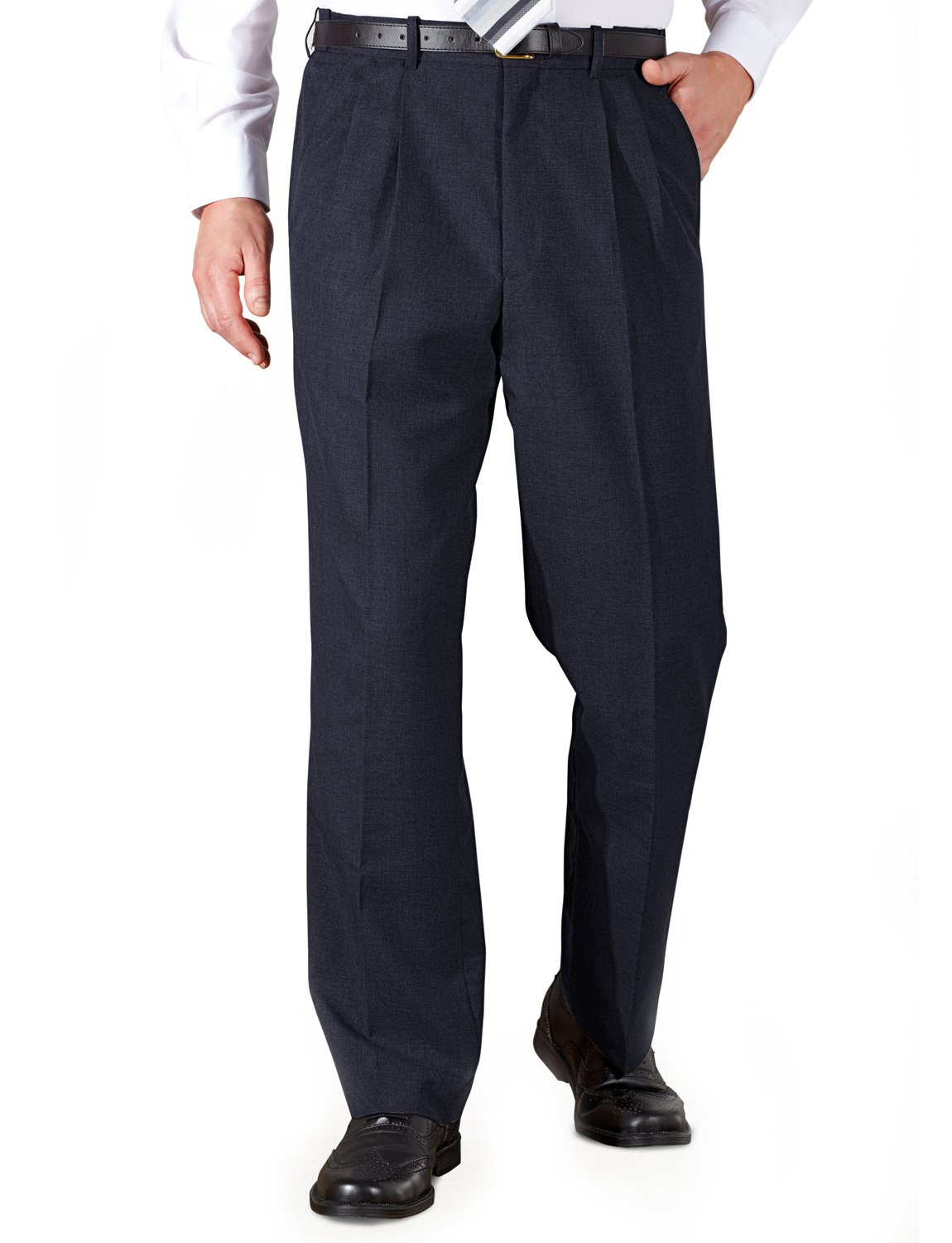 Chums Mens Poly Viscose Pleated Trouser With Extra Stretch Waistband