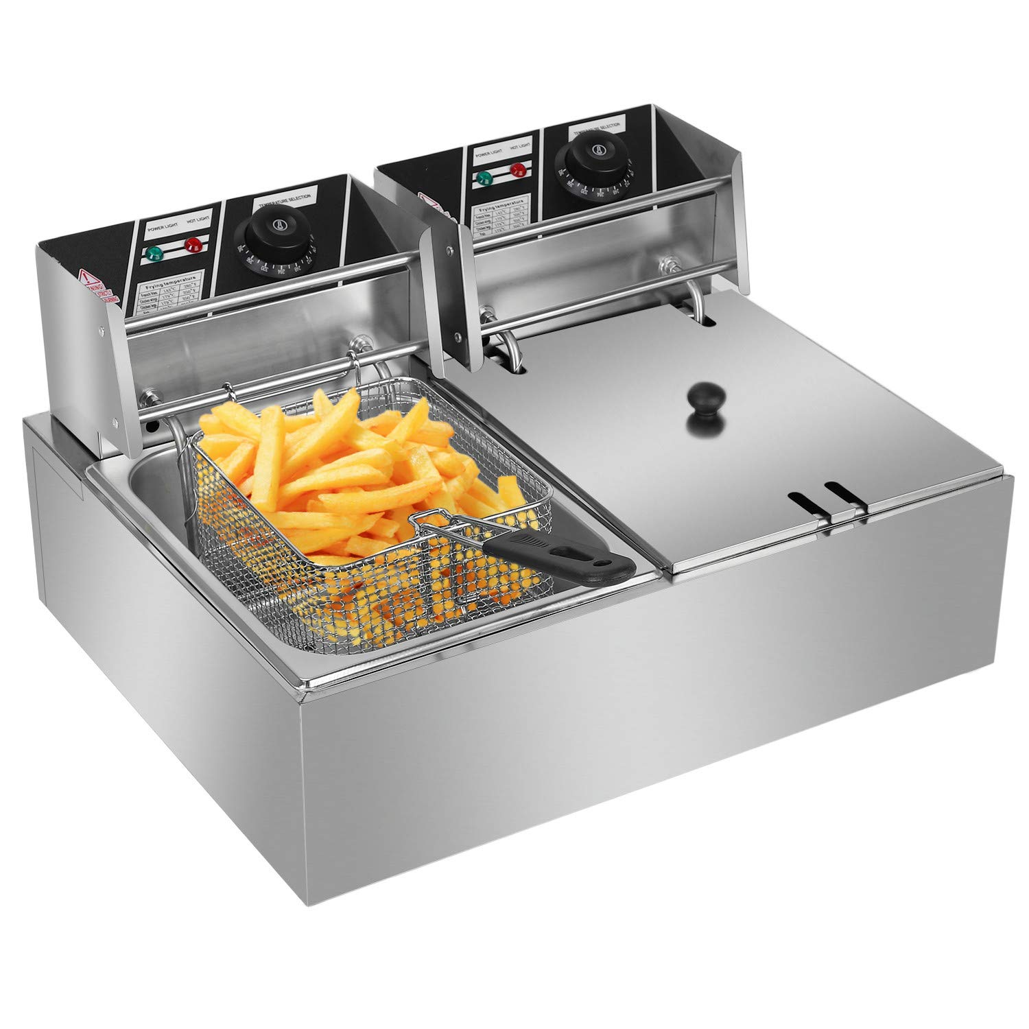 Stainless Steel Double Cylinder Electric Fryer 5000W MAX 110V 12.7QT/12L US Plug by Lovinland