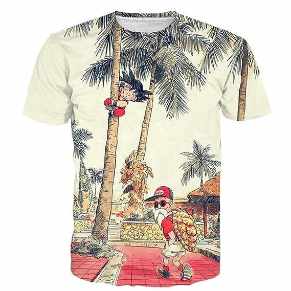 Camiseta de Verano de los Hombres 3D Divertidos Dibujos Animados Tops Estampados Hip Hop Estilo de Manga Corta Cuello… vIv7Zk2i