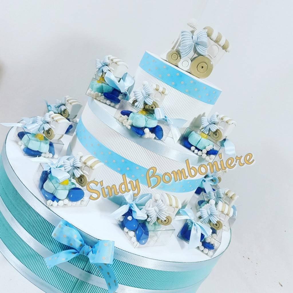 Kuchen Süßigkeiten Plexiglas Zug Baby Taufe Geburt Torta Torta Torta da 20 bomboniere + centrale 402760