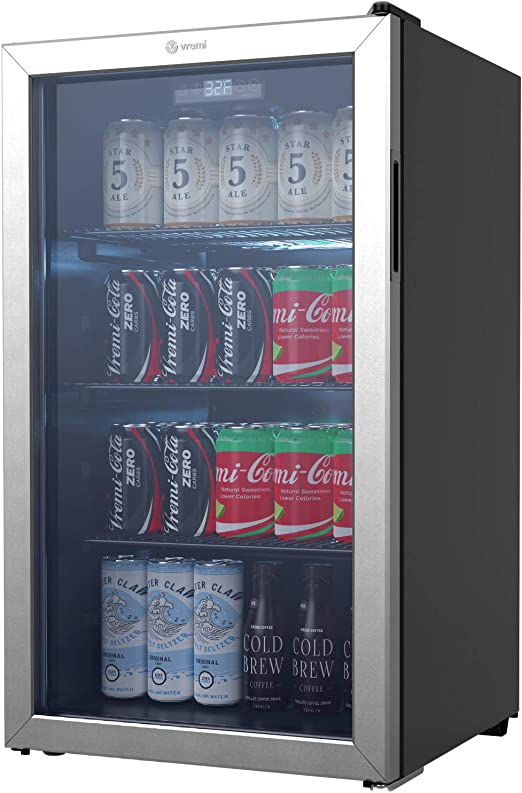 Vremi Beverage Refrigerator And Cooler 110 To 130 Can Mini Fridge With Glass Door For Soda Beer Or Wine Small Drink Dispenser Machine For Office Or Bar With Removable