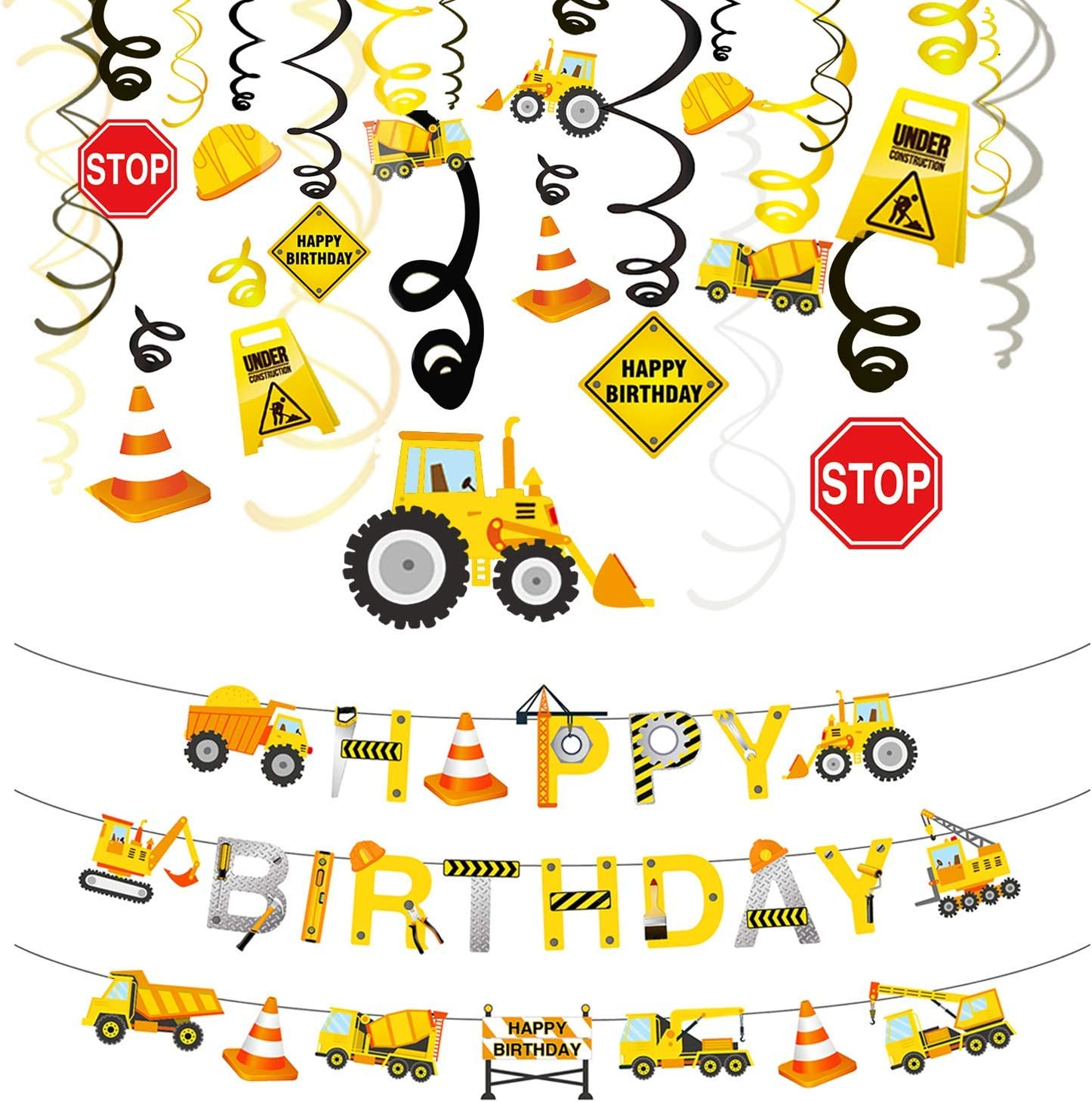 Phogary 31PCS Construction Birthday Party Decorations Set, Boys Birthday Construction Theme Party Favors Supplies Tractor Banner Excavators Bulldozers Dump Trucks Decor