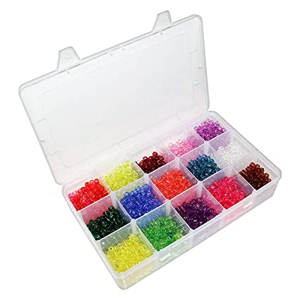 Abalorio de Semilla - 2200 Abalorios Plásticos transparente Pequeños en Estuche Organizador para Coser, Hacer Brazaletes, Collares, Joyas y Craft - ...