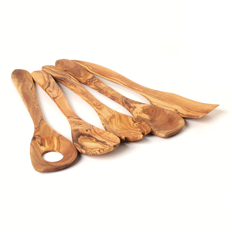 Sale! Kitchen Utensils Olive Wood Hand Carved Set of Five : Flat Spoon, Spork, Sauce Spoon, Pierced Sauce Spoon, Flat Spatula BeldiNest BN-UTS5-426-160-30