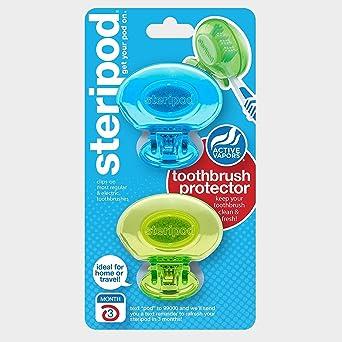 Steripod - Juego de 2 protectores de cepillo de dientes con clip, color azul y