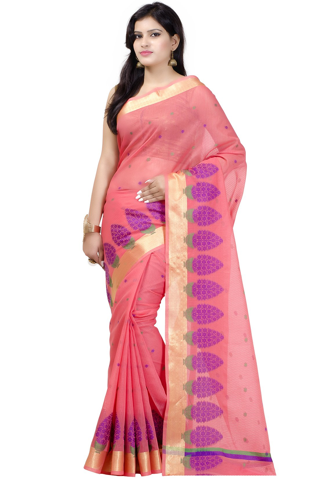 Chandrakala Women's Peach Cotton Blend Banarasi Saree