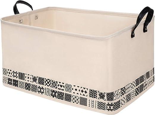 Stylish Canvas Storage Bag Toy Container Large Capacity Laundry Basket Handled