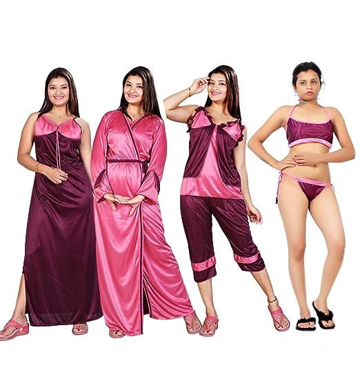 fec934c8bd MAHAARANI Fancy Nighty Night Wear Sleep Wear with Robe for Women  Amazon.in   Clothing   Accessories