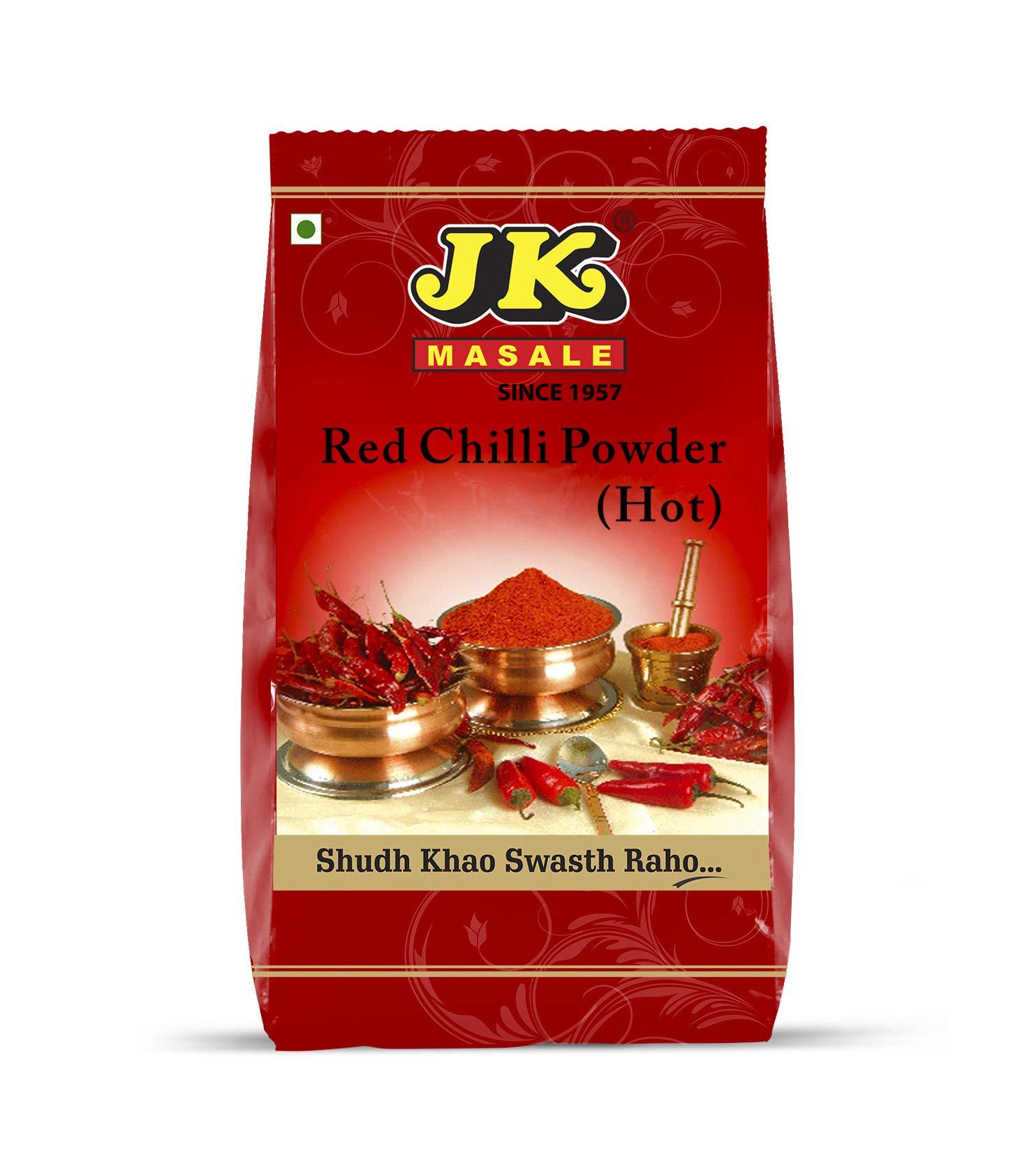 JK Indian Spices/Masala RED CHILI POWDER (CHILLI, HOT) - 17.64 oz / 500g, Non-GMO and NO preservatives!