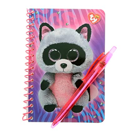 c802f483d63 Image Unavailable. Image not available for. Color  KidPlay Products Beanie  Boos TY Rocco Racoon Notebook Stationery Set