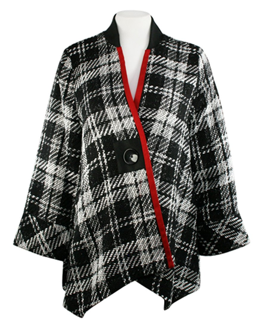 Moonlight - Black & White Plaid Asian Style Jacket with Red Stripe Accent by Moonlight