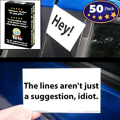 Witty Yeti Bad Parking Card 50 Note Pack. 10 Fun Designs for A Funny Gag Gift Or Prank: Toys & Games