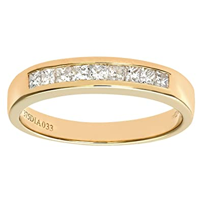 Naava Women's 9 ct Yellow Gold Diamond Wedding Band QGzYcx