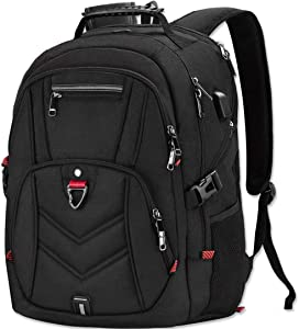 Laptop Backpack 18 Inch Business Travel Backpacks for Men Women Extra Large Waterproof TSA Anti Theft College School Bookbags with USB Charging Port 18.4 Gaming Computer Backpack,Black