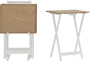 Linon Home Decor Products Linon Natural 5 Piece Kearney Tray Table Set