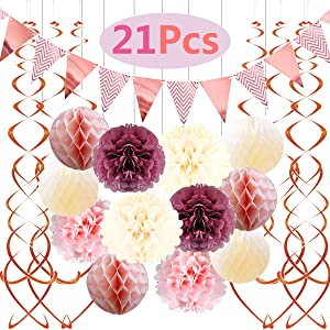 Famoby Dusty Rose Blush Pink Cream White Poms Honeycomb Balls Kit Rose Gold Banner Triangle Flags Hanging Swirls for Wedding Valentine's Day Bridal Shower Baby Shower Birthday Party Decorations