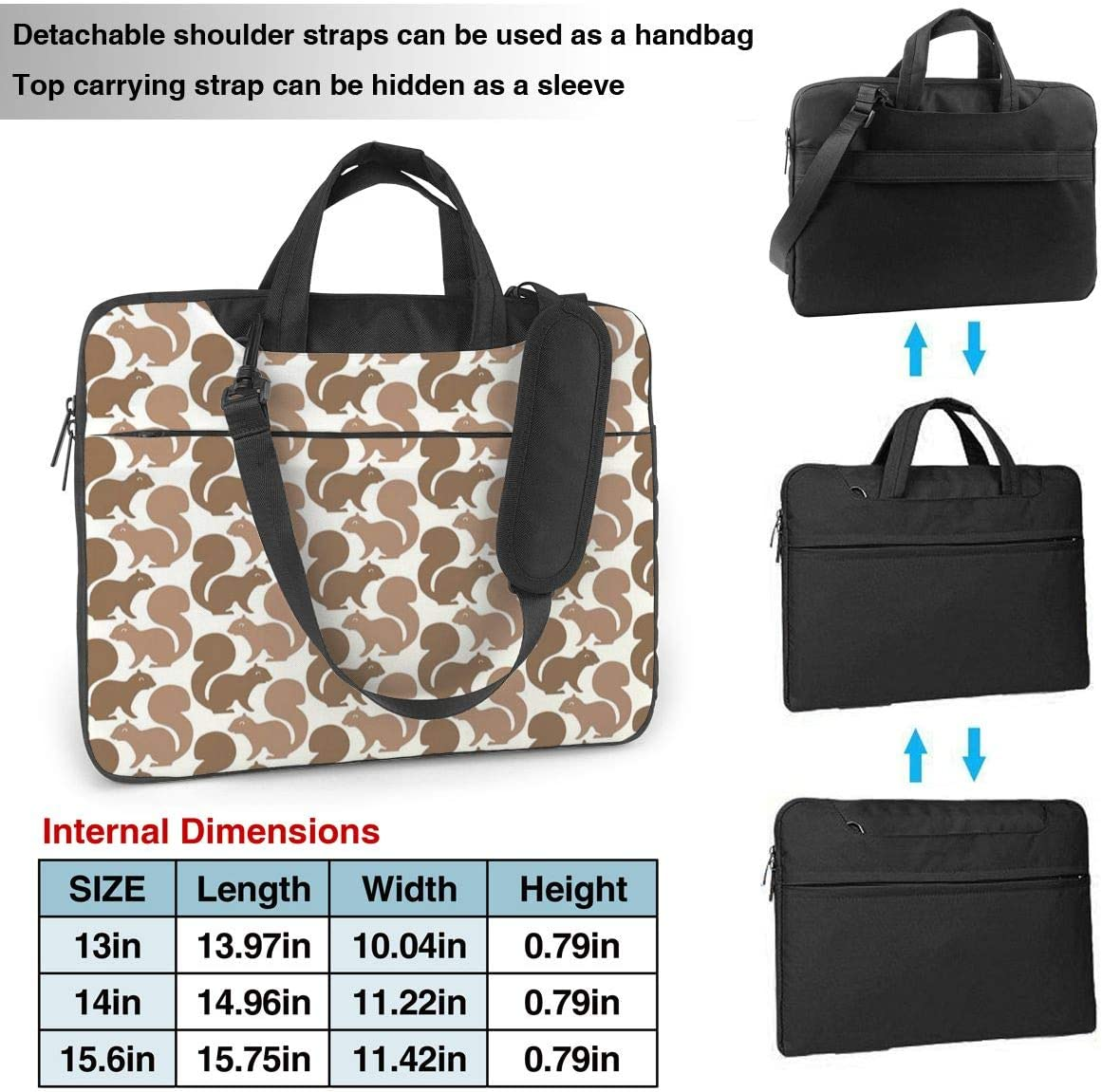 Notebook Squirrel Print Computer Sleeve Cover with Handle Laptop Shoulder Bag Carrying Laptop Case 13 Inch Business Briefcase Protective Bag for Ultrabook Asus MacBook Samsung Sony