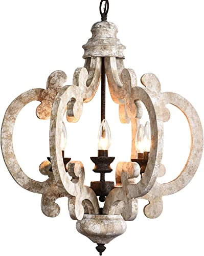 PAFEE 6-Light Wooden Chandelier