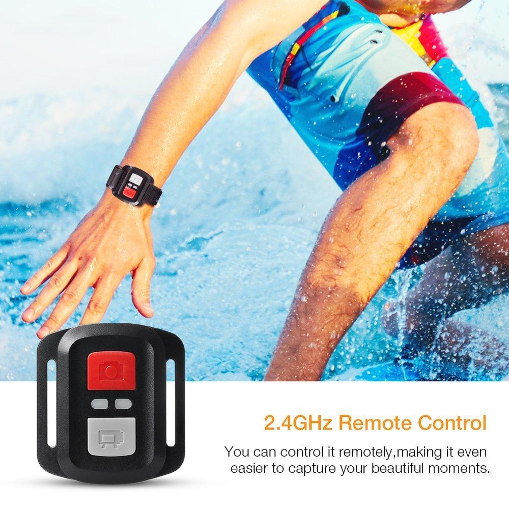 APEMAN Action Cam 4K WIFI Camera 16MP Ultra Full HD Unterwasser Kamera Helmkamera Wasserdicht mit 2.4G Fernbedienung 2 verbesserten Akkus und Montage Zubehör Kit