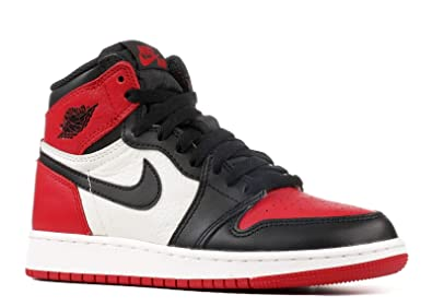 715a9c999d572a Image Unavailable. Image not available for. Color  Nike Boys Air Jordan 1  Retro High OG BG Bred Toe Red Black-White