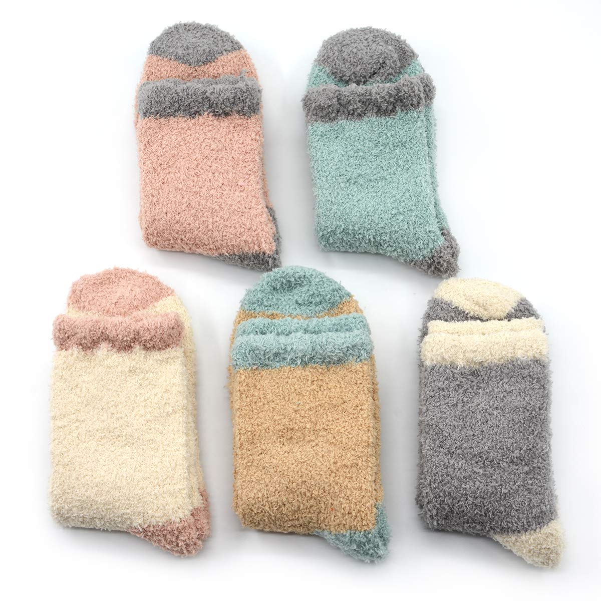 Fuzzy Warm Slipper Socks Women Super Soft Microfiber Cozy Sleeping Socks 6 or 5 Pairs