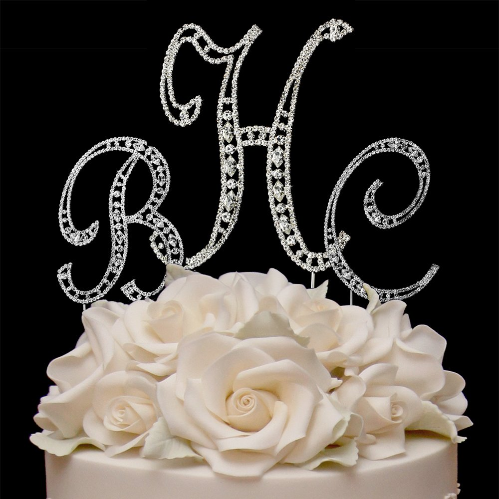RaeBella Weddings COMBO Silver Vintage Style Swarovski Crystal 3 Letter Monogram Wedding Cake Topper + White Metal LOVE Design Small Photo Frame
